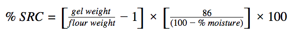 Solvent Retention Capacity formula