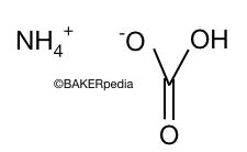 Chemical structure of ammonium bicarbonate.