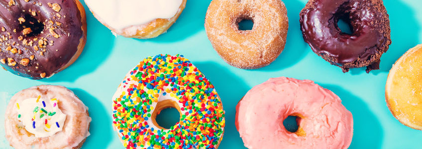 Donuts are a fried dough confectionary often eaten for breakfast or as a dessert.