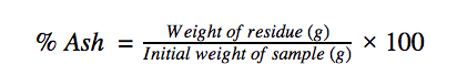 Equation for finding the content of ash in flour.