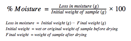 Formula for finding the moisture in flour.