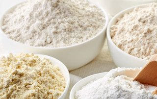 Different types of gluten-free flours, such as rice flour.
