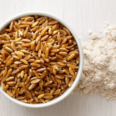 "Khorasan (Triticum turgidum ssp. turanicum) is an ""ancient wheat"" grain."