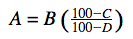 Equation for determining the amount of protein in flour.