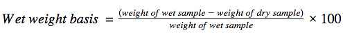 Wet weight basis formula.