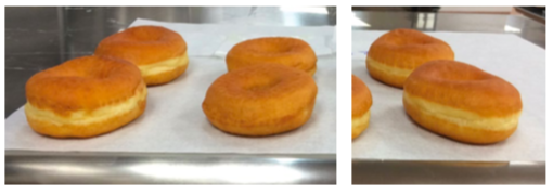 Donuts made with SSL (left), without SSL (middle) and with the clean label replacement Encore 6298 (right).
