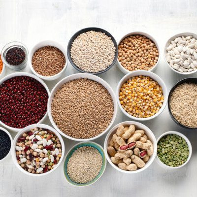A variety of grains, seeds, nuts and beans can help with high protein baking.