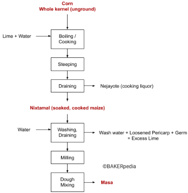 Block diagram that shows the steps of the nixtamalization process.