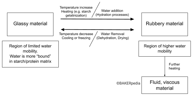 The glass transition of food materials such as bread, flour or cookies.