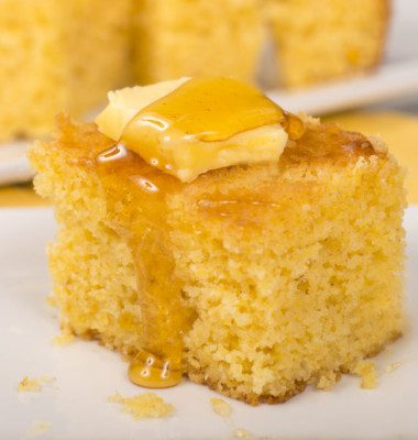Cornbread is a special bakery product made from a chemically-leavened batter in the U.S. or from yeasted dough in Europe