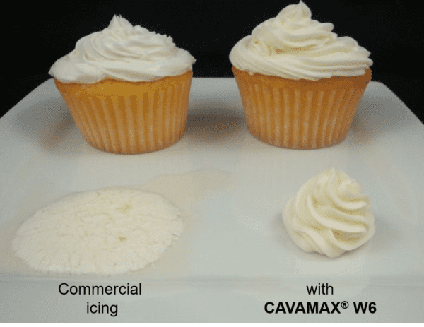 CAVAMAX® W6, a type of alpha-dextrin, used in frosting.