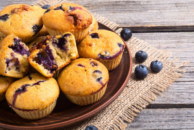 A scrumptious muffin with a healthy twist. Encompassing rolled oats and white whole wheat flour, this delectable blueberry muffin is lower in fat and higher in fiber than most other recipes found on the web.