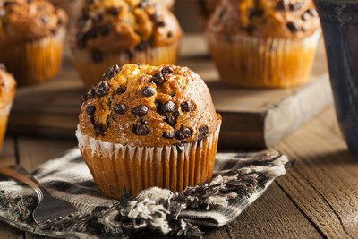 A delicious and fluffy chocolate chip muffin. A great treat for breakfast or a snack.