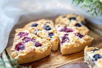A sweet and tart breakfast treat complete with a great buttermilk flavor! Make the night before, or freeze a bunch, then bake the following morning. Nothing beats a hot and fluffy scone (not to mention full of nutrition thanks to the whole wheat flour) with your cup of Joe!